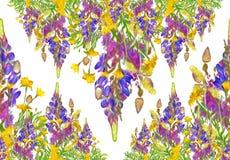Nahtloses mit Blumenmuster des stilisierten Rahmens - Blumenstrauß für Einladung Lizenzfreie Stockfotos