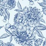 Nahtloses mit Blumenmuster des Vektors mit Dahlien Lizenzfreie Stockfotos