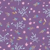 Nahtloses mit Blumenmuster Handgezogene Gekritzelblätter, brances und Blumenhintergrund Natur-Frühlingspackpapier Die Architektur stock abbildung