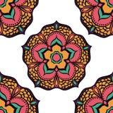 Nahtloses mit Blumenmuster Mandala Ethnics Stockbilder