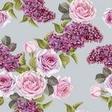 Nahtloses mit Blumenmuster mit Aquarellflieder und -rosen Lizenzfreies Stockfoto