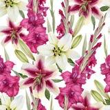 Nahtloses mit Blumenmuster mit Aquarelllilien und -Gladiole blüht Stockfoto