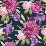 Nahtloses mit Blumenmuster mit Aquarellpfingstrosen, -rosen und -iris Stockfotografie