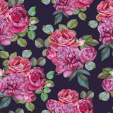 Nahtloses mit Blumenmuster mit Aquarellrosarosen und -pfingstrosen Stockbilder