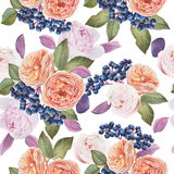 Nahtloses mit Blumenmuster mit Aquarellrosen und -pfingstrosen Stockbilder