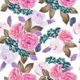 Nahtloses mit Blumenmuster mit Aquarellrosen und -pfingstrosen Stockbild