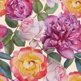 Nahtloses mit Blumenmuster mit Aquarellrosen und -pfingstrosen Lizenzfreie Stockfotos