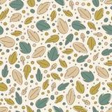 Nahtloses mit Blumenmuster mit Blättern und Punkten stock abbildung