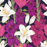 Nahtloses mit Blumenmuster mit den weißen und purpurroten Lilien und violetter Gladiole blüht Stockbild