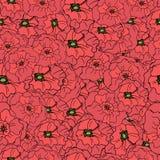 Nahtloses mit Blumenmuster mit Gekritzelmohnblumen Stockfotografie