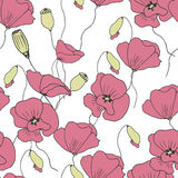 Nahtloses mit Blumenmuster mit Gekritzelmohnblumen Stockfoto
