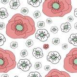 Nahtloses mit Blumenmuster mit Gekritzelmohnblumen Stockbilder