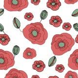 Nahtloses mit Blumenmuster mit Gekritzelmohnblumen Stockfotos