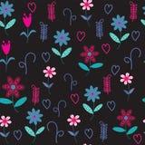 Nahtloses mit Blumenmuster mit Herzen und Blumen. Nahtloses patte Stockfoto