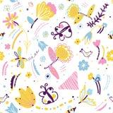 Nahtloses mit Blumenmuster mit Insekten und Vögeln lizenzfreie abbildung