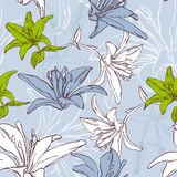 Nahtloses mit Blumenmuster mit Lilie Stockfoto