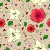 Nahtloses mit Blumenmuster mit Lilienblumen und -rosen Lizenzfreie Stockfotografie