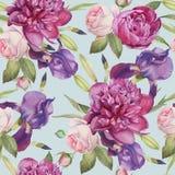 Nahtloses mit Blumenmuster mit Pfingstrosen, Rosen und Iris Stockfoto