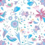 Nahtloses mit Blumenmuster mit Vögeln Stockbild