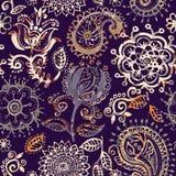 Nahtloses mit Blumenmuster in Paisley-Art Abstrakte Tapete mit Blumen Dekorativer botanischer Hintergrund lizenzfreie abbildung