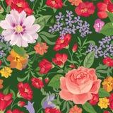 Nahtloses mit Blumenmuster Playnig mit Leuchte Nahtloser mit Blumentext Stockfotografie