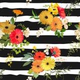 Nahtloses mit Blumenmuster Sommer und Autumn Flowers Background lizenzfreie abbildung