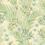 Nahtloses mit Blumenmuster Succulents, Farne, Dornen Stockfotos