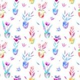 Nahtloses mit Blumenmuster von Blumen im Topf und in der Beere lizenzfreie stockbilder