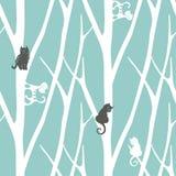 Nahtloses modisches Muster mit Bäumen und Katzen Nahtloser Hintergrund Fanny-Vektorillustration Lizenzfreie Stockfotografie