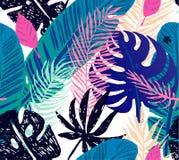Nahtloses modisches Muster mit blauen exotischen Palmblättern auf einem weißen Hintergrund Botanische Illustration des Vektors Lizenzfreies Stockbild