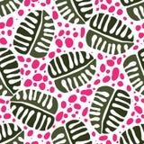 Nahtloses modisches Musterdesign mit Blättern Stockfotografie