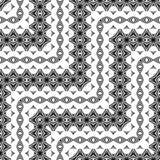 Nahtloses Monochrom des Designs, das dekoratives Muster wellenartig bewegt Stockfotos