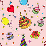 Nahtloses Muster alles Gute zum Geburtstag Stockbild