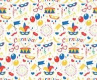 Nahtloses Muster alles Gute zum Geburtstag oder des Karnevals mit Maske versieht, Ballone, Konfettis mit Federn Endloser Hintergr lizenzfreie abbildung