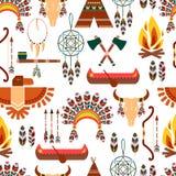 Nahtloses Muster-amerikanische Stammes- gebürtige Symbole Lizenzfreie Stockfotos