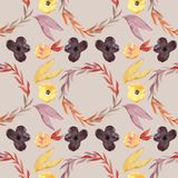 Nahtloses Muster - Aquarell malte Herbstblumenmuster Lizenzfreies Stockfoto