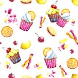 Nahtloses Muster Aquarellkleiner kuchen mit Füllung, Orange und Bonbons Lokalisiertes bedienungsfreundliches für verschiedenen Me lizenzfreie abbildung