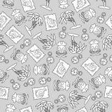 Nahtloses Muster auf dem Piratenthema Für Dekoration, die Verpackung, Druck oder die Werbung lizenzfreie abbildung