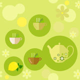 Nahtloses Muster auf dem Thema des Tees Stockfotografie