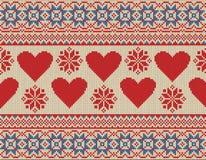 Nahtloses Muster auf dem Thema des Valentinstags mit einem Bild der Norwegermuster und -herzen Lizenzfreie Stockbilder