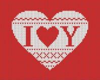 Nahtloses Muster auf dem Thema des Valentinstags mit einem Bild der Norwegermuster und -herzen Wolle gestrickt Stockfoto