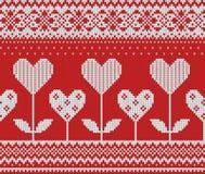 Nahtloses Muster auf dem Thema des Valentinstags mit einem Bild der Norwegermuster und -herzen Wolle gestrickt Stockbilder
