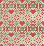 Nahtloses Muster auf dem Thema des Valentinstags mit einem Bild der Norwegermuster und -herzen Wolle gestrickt Lizenzfreies Stockbild