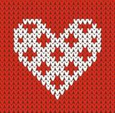 Nahtloses Muster auf dem Thema des Valentinstags mit einem Bild der Norwegermuster und -herzen Wolle gestrickt Stockfotografie