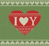 Nahtloses Muster auf dem Thema des Valentinstags mit einem Bild der Norwegermuster und -herzen Wolle gestrickt Lizenzfreie Stockfotos