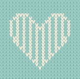 Nahtloses Muster auf dem Thema des Valentinstags mit einem Bild der Norwegermuster und -herzen Wolle gestrickt Stockfotos