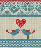 Nahtloses Muster auf dem Thema des Valentinstags mit einem Bild der Norwegermuster und -herzen Zahl Vertretung Lizenzfreie Stockfotos