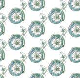 Nahtloses Muster auf einem diagonalen Gitter der Hälfte eines Retro- historischen Motorrades in den blauen und grünen Farben auf  vektor abbildung