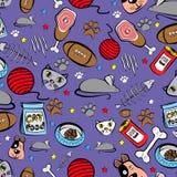 Nahtloses Muster auf Haustieren - Katzen, Hunde, Nahrung für Haustiere, Spielwaren für Katzen und Hunde, Fischgräten, Steak und R lizenzfreie stockfotos