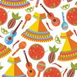 Nahtloses Muster auf weißem Hintergrund Mexikanisches Trachtenkleid und Lebensmittel, Musikinstrumente lizenzfreie stockfotos